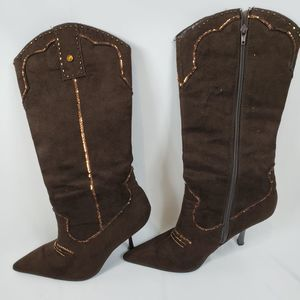 Wild Diva 10 Brown Suede Tall Boots